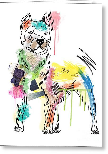 Pit Bull Digital Art Greeting Cards -  Cute Pit Bull Greeting Card by Mark Ashkenazi