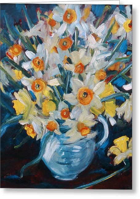 Daffodils Paintings Greeting Cards -  Daffs Greeting Card by Gloria Wallington