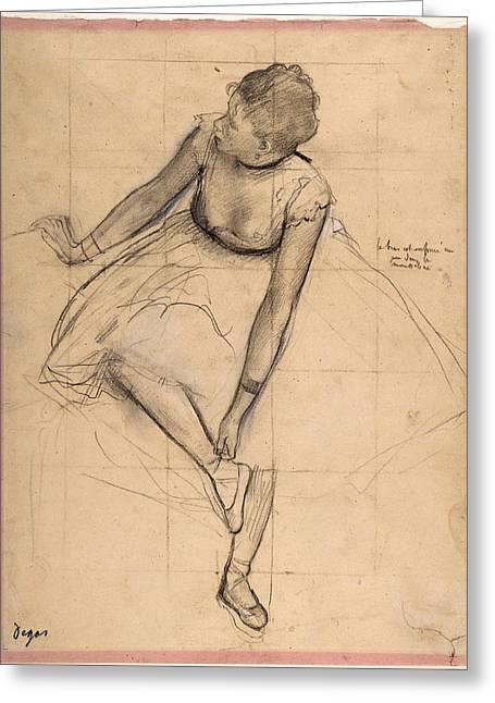 Dancer Adjusting Her Slipper Greeting Card by Edgar Degas