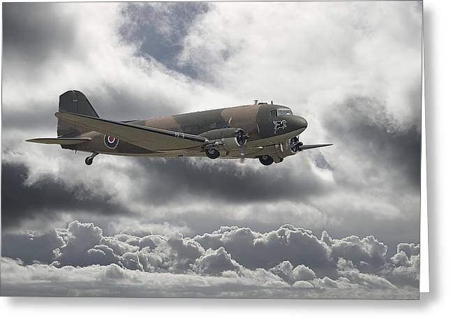 Storm Clouds Digital Art Greeting Cards -   DC3 Dakota   Workhorse Greeting Card by Pat Speirs