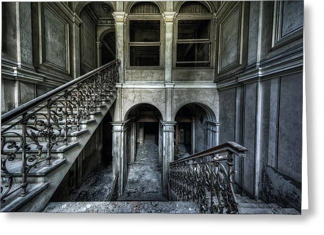 Stair-rail Greeting Cards -  Death on the Stairs Greeting Card by Jason Green