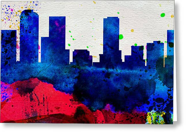 Denver Greeting Cards -  Denver City Skyline Greeting Card by Naxart Studio