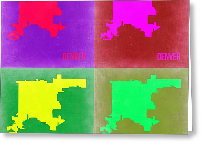 Denver Greeting Cards -  Denver Pop Art Map 2 Greeting Card by Naxart Studio