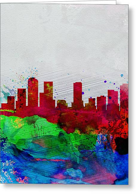 Capital Greeting Cards -  Denver Watercolor Skyline Greeting Card by Naxart Studio