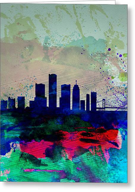 United States Capital Greeting Cards -  Detroit Watercolor Skyline Greeting Card by Naxart Studio