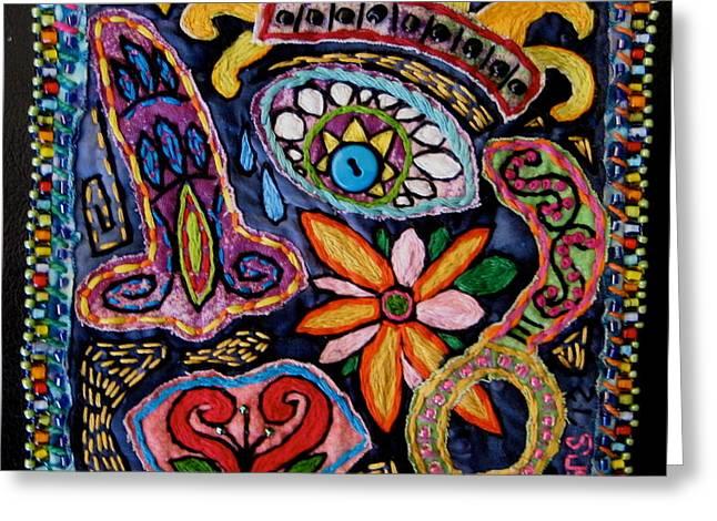 Face Tapestries - Textiles Greeting Cards -  Dia de los Muertos  Greeting Card by Susan Sorrell