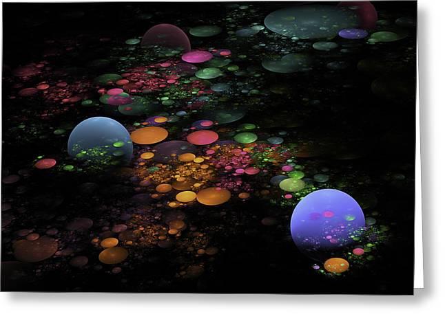 Modern Art Greeting Cards -  Digital Fractal Spheres - Psychedelic Digital Image - Modern Art Greeting Card by Keith Webber Jr