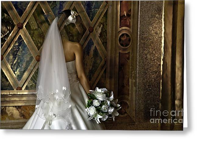 Bridal Gown Greeting Cards -  Disappearing  Greeting Card by Madeline Ellis