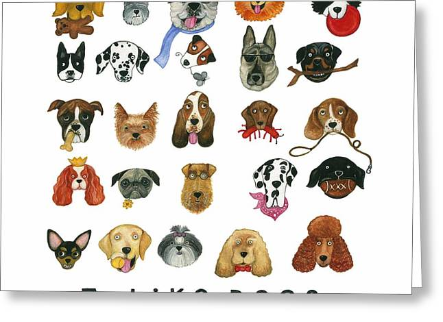 Dogs Twenty Five Breeds Greeting Card by Barbara Esposito