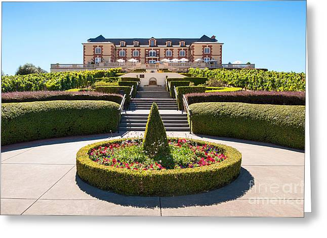 Napa Valley Vineyard Greeting Cards -  Domaine Carneros Winery and Vineyard in Napa Valley California. Greeting Card by Jamie Pham