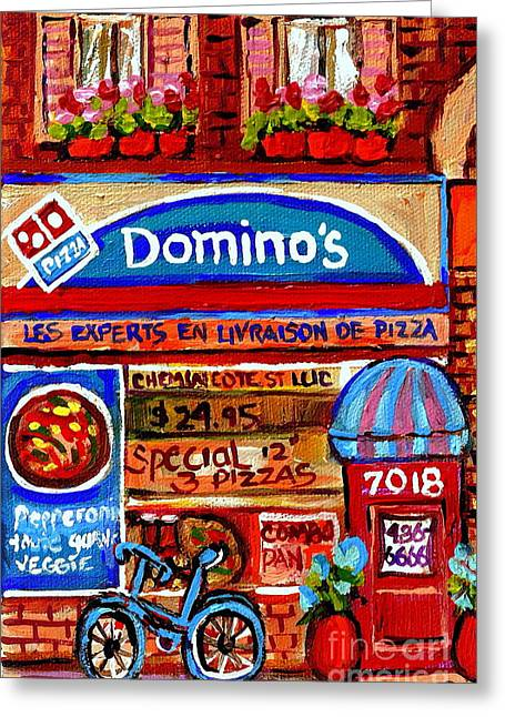 Montreal Pizza Places Greeting Cards -  Domino Pizzeria Resto Bistro Cote St Luc Pizza Pie Cafe Paintings Cityscenes Carole Spandau Greeting Card by Carole Spandau