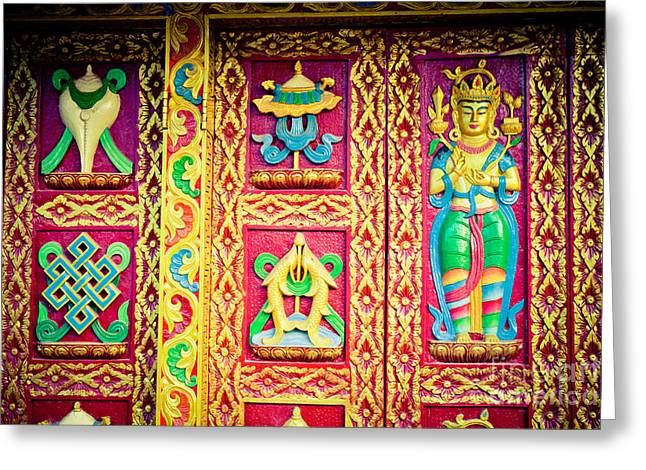 Door With Buddhist Symbols Greeting Card by Raimond Klavins
