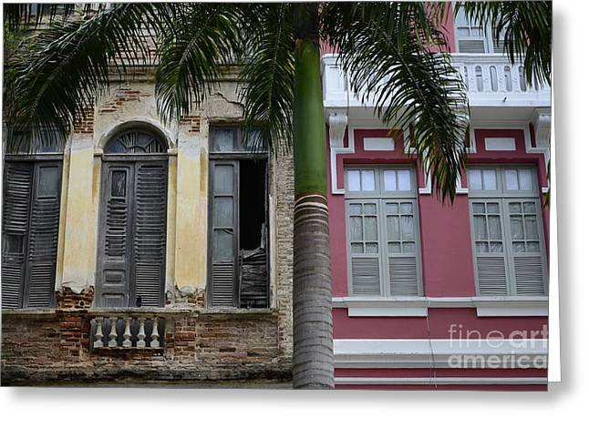 Old Door Greeting Cards -  Doors and Windows Recife Brazil 1 Greeting Card by Bob Christopher