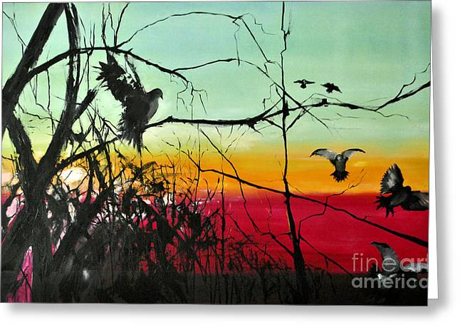Sun Rays Paintings Greeting Cards -  Doves At the dawn Greeting Card by Maja Sokolowska