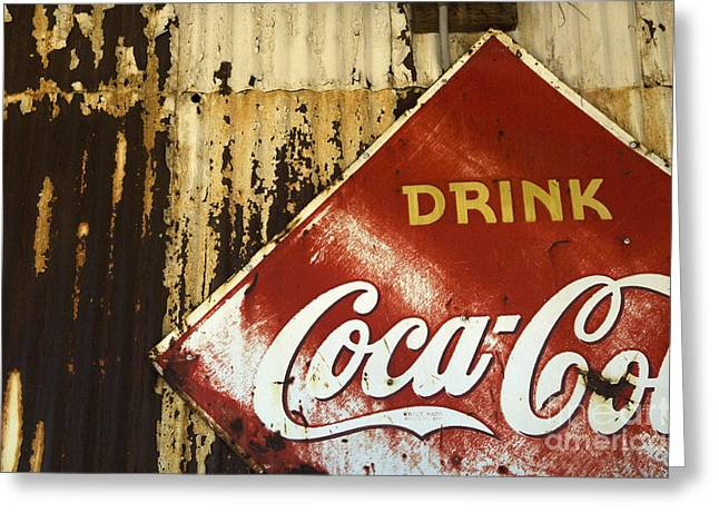 Sights Along Route 66 Greeting Cards -  Drink Coca Cola  Memorbelia Greeting Card by Bob Christopher