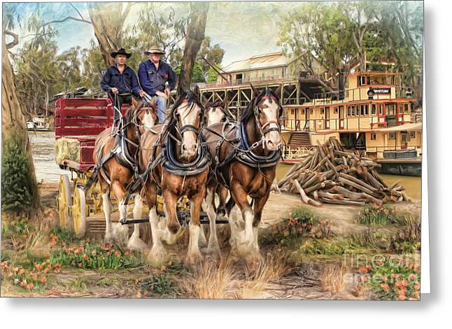 Rural Mixed Media Greeting Cards -  Driving The Murray Greeting Card by Trudi Simmonds