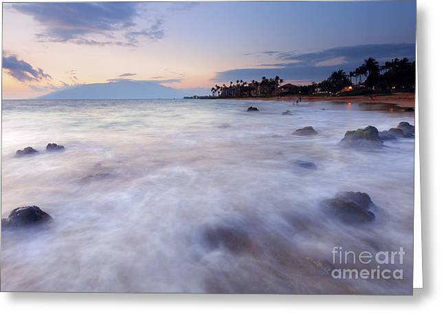 ; Maui Greeting Cards -  Dusk over Paradise Greeting Card by Mike Dawson