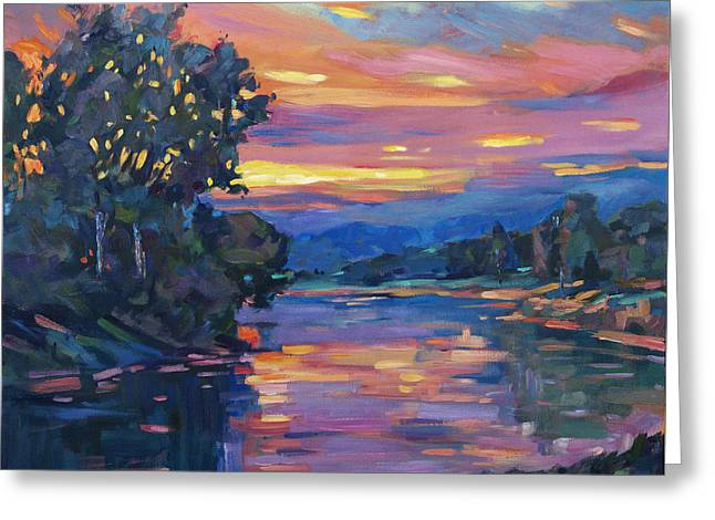 Dusk River Greeting Card by David Lloyd Glover