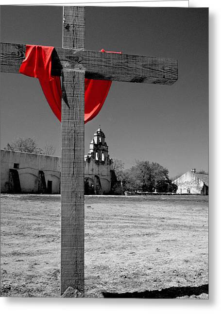 Easter Greeting Cards -  Mission San Juan Easter Cross Greeting Card by David and Carol Kelly