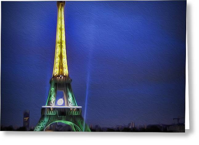 Champs Greeting Cards -  Eiffel Tower At Dusk Greeting Card by Lee Dos Santos