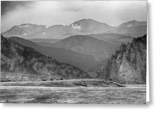 Gash Greeting Cards -  Eldorado Canyon and Continental Divide Above BW Greeting Card by James BO  Insogna