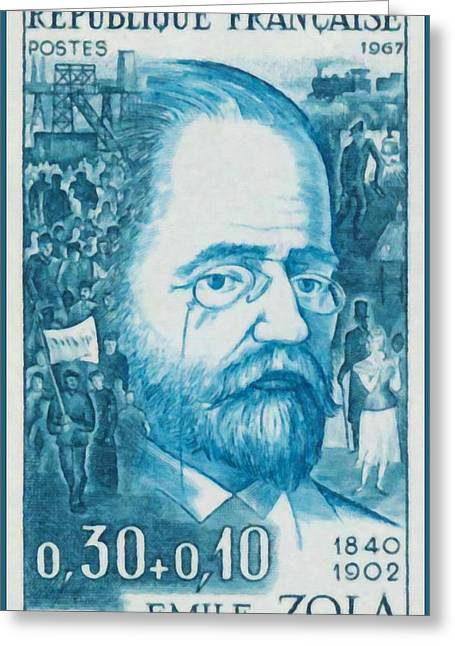 Zola Greeting Cards -  Emile Zola 1840-1902 1967 Greeting Card by Lanjee Chee