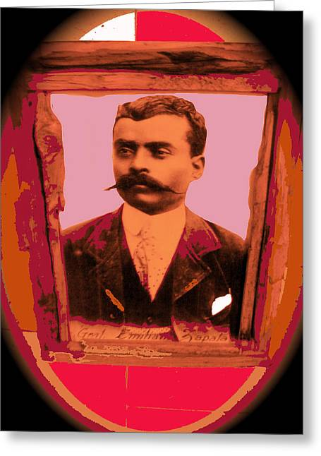 Emiliano Greeting Cards -  Emiliano Zapata collage vignetted color added 2008 Greeting Card by David Lee Guss