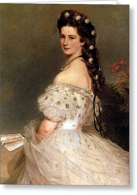 Empress Elisabeth Of Austria In Courtly Gala Dress With Diamond Stars.detail Greeting Card by Franz Xaver Winterhalter