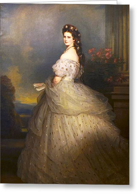 Franz Xaver Winterhalter Greeting Cards -   Empress Elisabeth of Austria in state robes with diamond stars in her hair Greeting Card by Franz Xaver Winterhalter