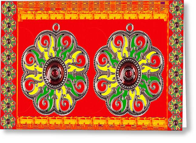 Reiki Mixed Media Greeting Cards -  Energy Ornaments Holy Saffron and Red colors of hindu religion rituals and decorations for pooja  p Greeting Card by Navin Joshi
