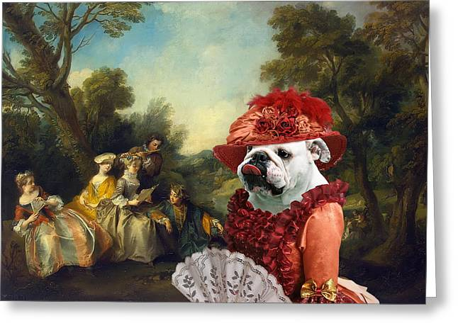 English Bulldog Portrait Greeting Cards -  English Bulldog Art Canvas Print - Concert in the Park Greeting Card by Sandra Sij