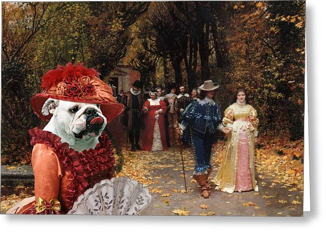 English Bulldog Portrait Greeting Cards -  English Bulldog Art Canvas Print - Left Mistress Greeting Card by Sandra Sij