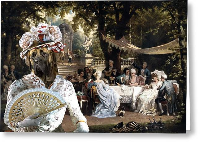 English Mastiff Greeting Cards -  English Mastiff  - Mastiff Art Canvas Print - The garden party Greeting Card by Sandra Sij