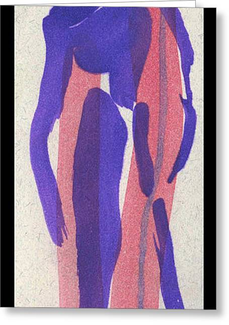 Printmaking Greeting Cards -  Entwined Figure Series No. 4 The Odd Fellow Greeting Card by Cathy Peterson