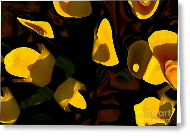 Green And Yellow Abstract Greeting Cards -  Essence of Life Greeting Card by David Winson
