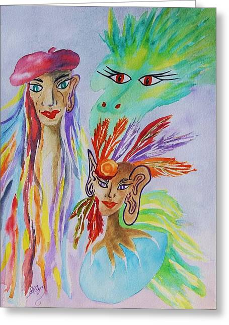 Unrealistic Greeting Cards -  Expressionist Dream  Greeting Card by Ellen Levinson
