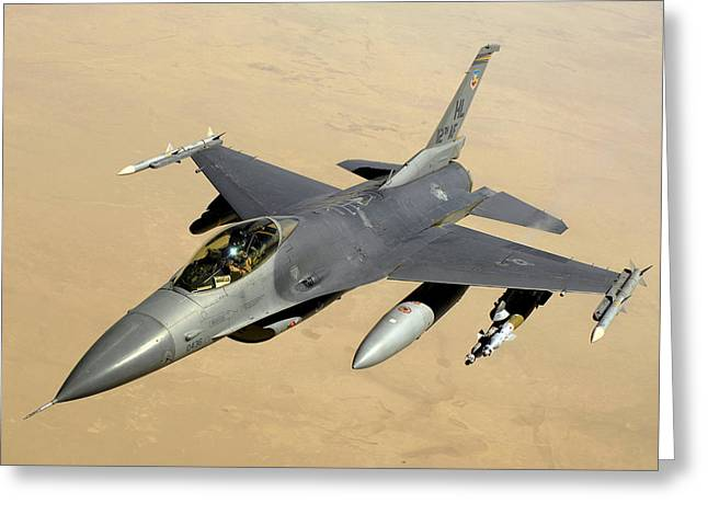 U.s. Army Air Corps Greeting Cards -  F-16 Fighting Falcon Block 40 aircraft Greeting Card by Celestial Images