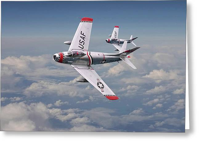 Fighter Aircraft Greeting Cards -  F86 - Fighter School pair Greeting Card by Pat Speirs