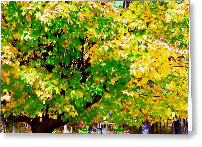 Park Scene Paintings Greeting Cards -  Fall Leaves 1 Greeting Card by Lanjee Chee