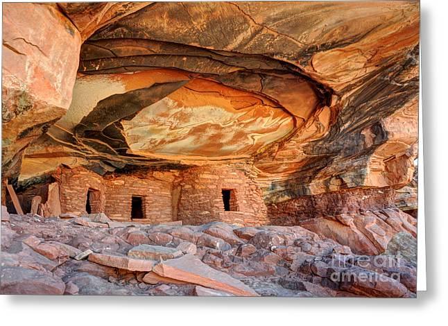 Cliff Dwellings Greeting Cards - Fallen Roof Anasazi Ruins 2 - Cedar Mesa - Utah Greeting Card by Gary Whitton