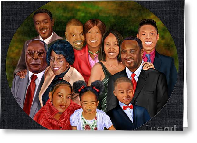 African American Female Greeting Cards -  Family Portrait  Greeting Card by Reggie Duffie