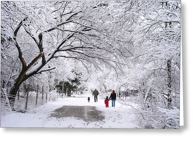 Family Walks Greeting Cards -  Family Walk in the Snow Greeting Card by David and Carol Kelly