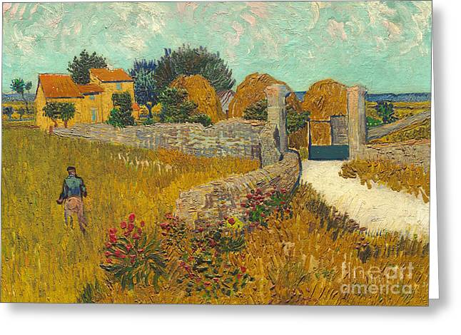 Farmers Field Greeting Cards -  Farmhouse in Provence Greeting Card by Vincent van Gogh