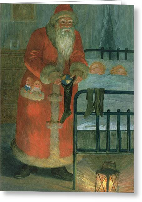 Old Saint Nick Greeting Cards -  Father Christmas  Greeting Card by Karl Roger
