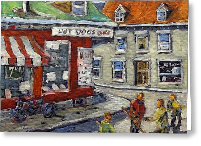 Hockey In Montreal Paintings Greeting Cards -  Faubourg a mlasse Hockey Kids Montreal by Prankearts Greeting Card by Richard T Pranke
