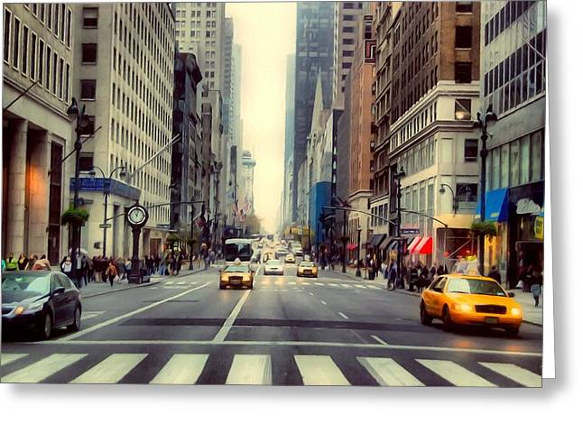 Speeding Taxi Greeting Cards -  Fifth Avenue in Manhattan  Greeting Card by Lanjee Chee