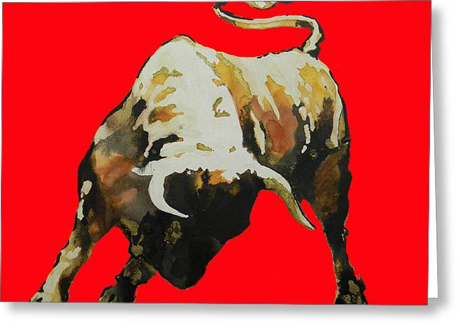Handmade Drawings Greeting Cards -  Fight Bull In Red Greeting Card by Jose Espinoza