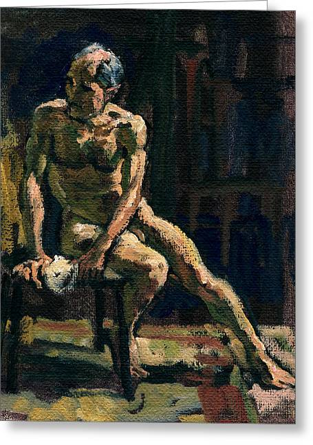 Chiara Greeting Cards -  Figure Painting Twist Male Nude Greeting Card by Thor Wickstrom