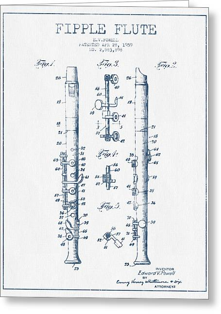 Wind Instrument Greeting Cards -  Fipple Flute Patent drawing from 1959 - Blue Ink Greeting Card by Aged Pixel