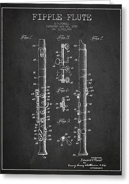 Wind Instrument Greeting Cards -  Fipple Flute Patent drawing from 1959 - Dark Greeting Card by Aged Pixel